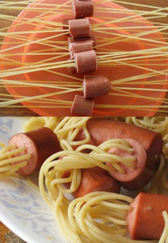 Spaguettis con Hot dog