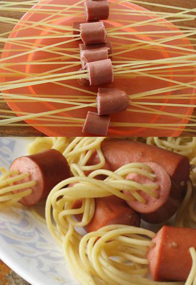 Spaguettis con Hot dog