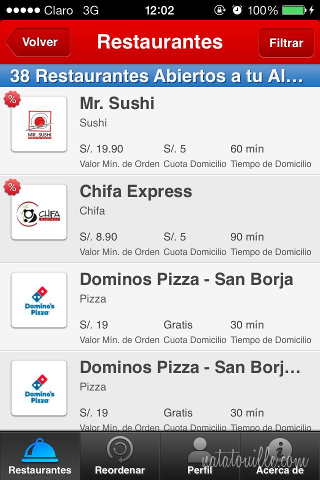 Seleccionar restaurante Hellofood